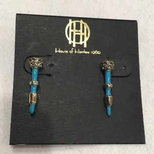 HOUSE OF HARLOW 14k gold, pave crystal & turquoise
